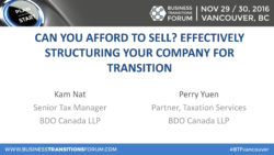 Can You Afford To Sell? Effectively Structuring Your Company For Transition