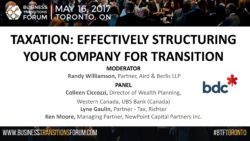 A1-Taxation: Effectively Structuring Your Company For Transition