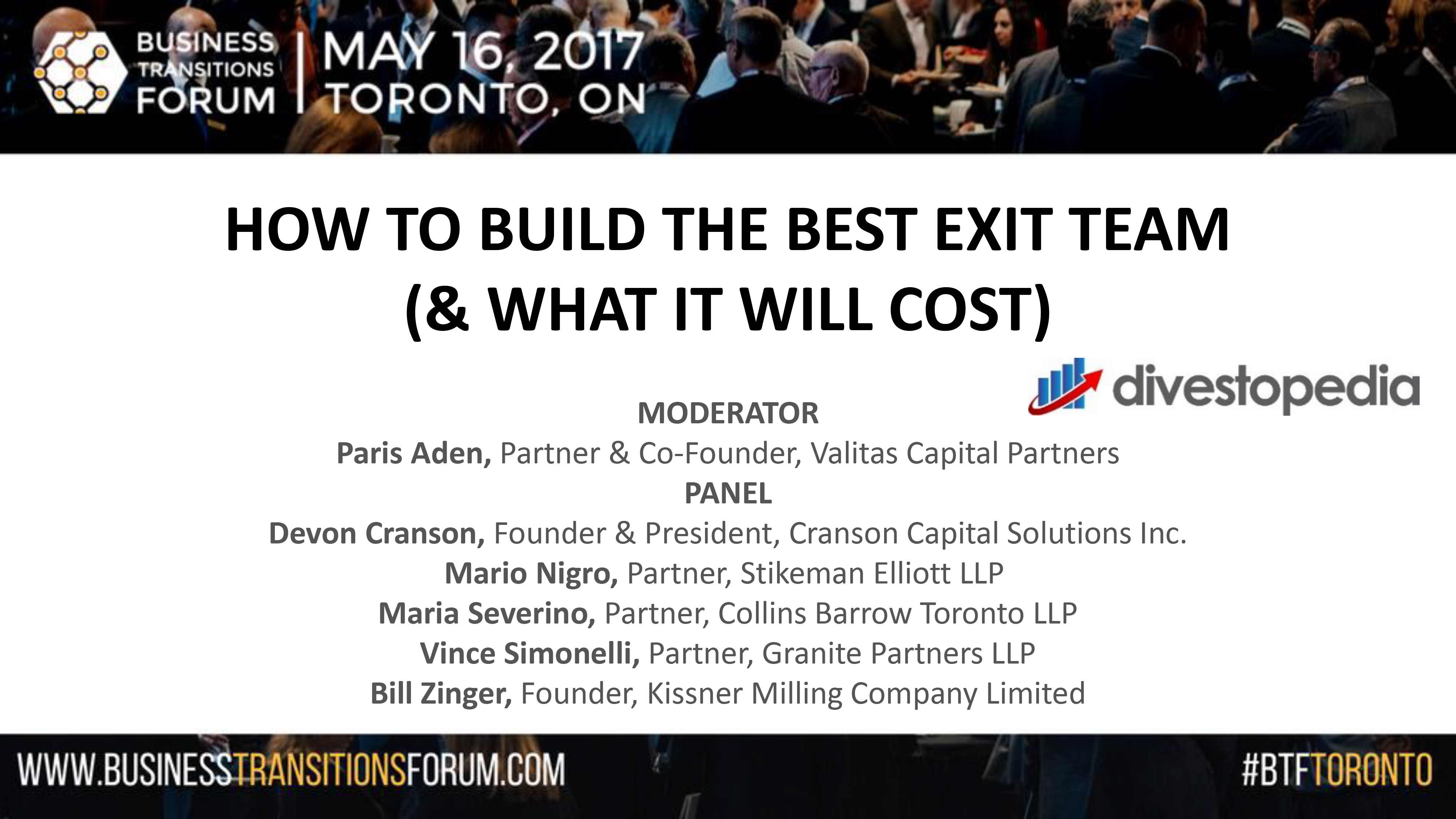 B1-How To Build The Best Exit Team (& What It Will Cost)